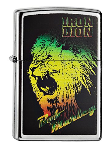 Zippo Bob Marley Iron Lion Pocket Lighter, Street Chrome