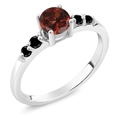Gem Stone King 0.73 Ct Round Red Garnet Black Diamond 925 Sterling Silver Ring Available 5,6,7,8,9
