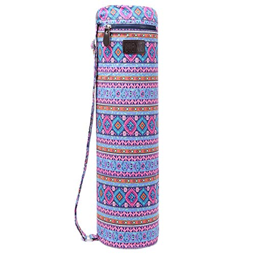 Boence Yoga Mat Bag, Full Zip Exercise Yoga Mat Sling Bag with Sturdy Canvas, Smooth Zippers, Adjustable Strap, Large Functional Storage Pockets - Fits Most Size Mats (Bohemia-Pink)