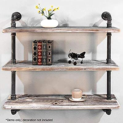 """Diwhy Industrial Pipe Shelving Bookshelf Rustic Modern Wood Ladder Storage Shelf 3 Tiers Retro Wall Mount Pipe Design DIY Shelving (Black, L 36"""") - 【Retro Style】:Rustic industrial pipe shelf in black finish.Iron pipes and reclaimed real wood composition in vintage style.Storage and decorations.It can also be used outdoors.Extensively anti-rust treatment. - Electroplated finish. 【Size】:Made from quality metal pipe and pine wood. Overall size: length 36in x depth 10in x height 39in.Board size: length 36in x depth 10in x thickness 1.18in.Water pipe diameter: 1.26in, Overall Product Weight:33lb . 【Multi-functional】:The floating shelves are versatile, such as bathroom accessories, towel holder, bookcase, spice racks. - wall-shelves, living-room-furniture, living-room - 51%2BBIsG5RBL. SS400  -"""