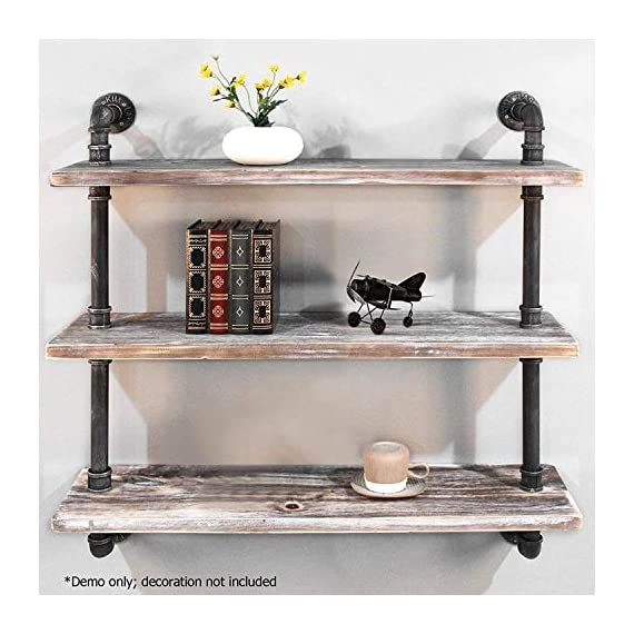 "Diwhy Industrial Pipe Shelving Bookshelf Rustic Modern Wood Ladder Storage Shelf 3 Tiers Retro Wall Mount Pipe Dia 32mm Design DIY Shelving (Black, L 36"") - 【Retro Style】:Rustic industrial pipe shelf in black finish.Iron pipes and reclaimed real wood composition in vintage style.Storage and decorations.It can also be used outdoors.Extensively anti-rust treatment. - Electroplated finish. 【Size】:Made from quality metal pipe and pine wood. Overall size: length 36in x depth 10in x height 39in.Board size: length 36in x depth 10in x thickness 1.18in.Water pipe diameter: 1.26in, Overall Product Weight:33 lb . 【Multi-functional】:The floating shelves are versatile, such as bathroom accessories, towel holder, bookcase, spice racks. - wall-shelves, living-room-furniture, living-room - 51%2BBIsG5RBL. SS570  -"