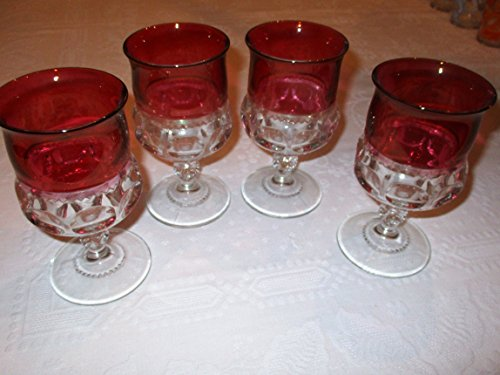 Kings Crown Ruby Red Flashed Set of 4 Water Goblets ()