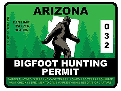 Bigfoot Hunting Permit - ARIZONA (Bumper Sticker)