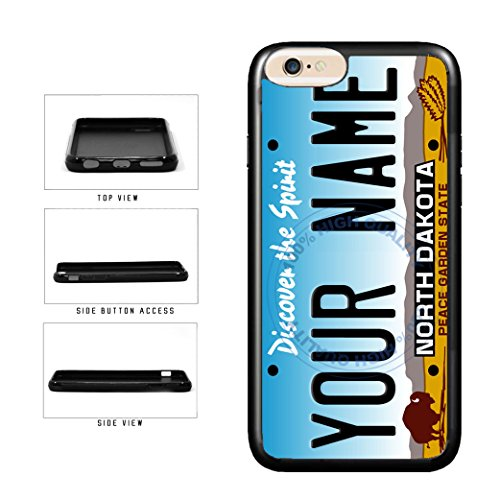 BleuReign(TM) Personalized Custom Name North Dakota State License Plate TPU Rubber Silicone Phone Case Back Cover for Apple iPhone 8 and iPhone 7 ()