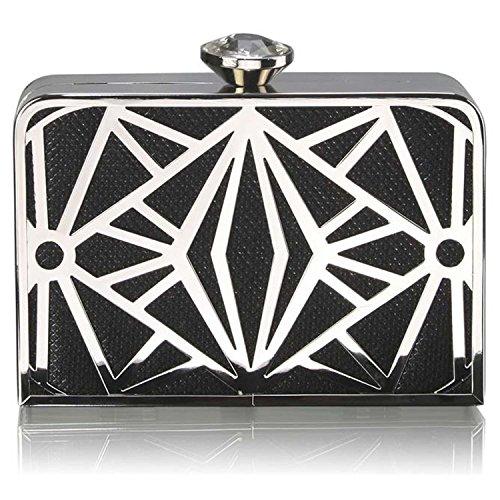 L And S Handbags Box Clutch Bag With Carry Chain - Cartera de mano de Material Sintético para mujer negro