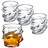 Modern Wave Design 10 oz Scotch Whiskey Clear Tumbler Glass, Set of 4 Review