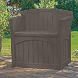 Outdoor Seat with Storage, Java Color, Resin Material, Ideal for Outdoor Spaces, Durable & Compact Construction, Back & Armrests, Stylish and Modern Design & E-Book Home Decor