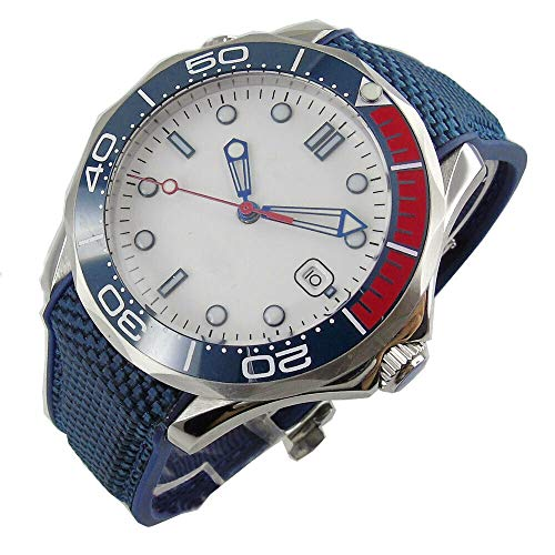 BLIGER 41MM White Dial Luminous Marks Blue Red Rotating Bezel Sapphire Glass Miyota 8215 Self-Winding Movement Men's Watch (NO Logo DIAL)