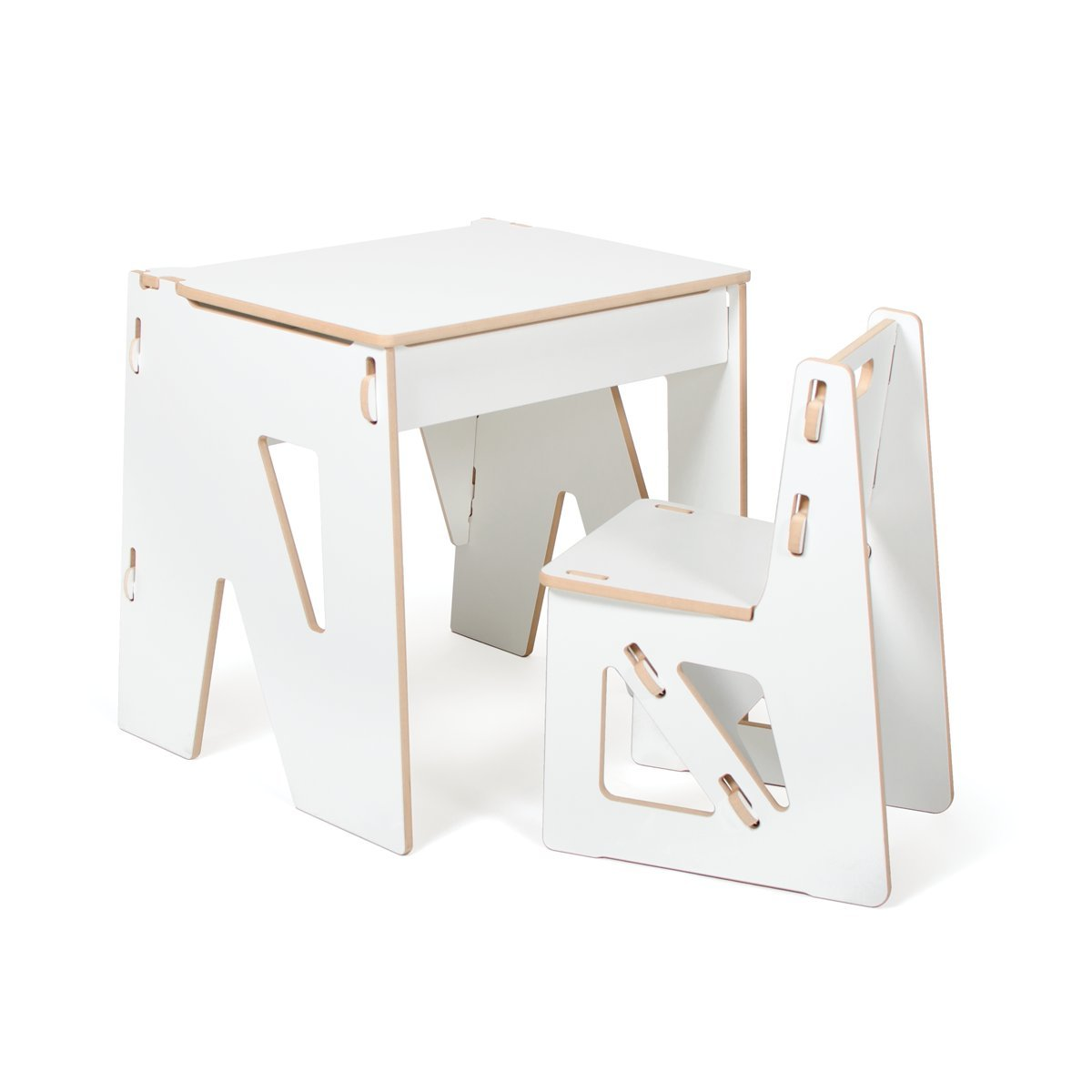 White Modern Kids Desk and Chair with Storage, American Made