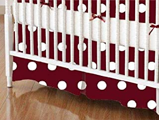 product image for SheetWorld 100% Cotton Percale Crib Skirt 28 x 52, Polka Dots Burgundy, Made in USA