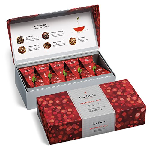 Tea Forté WARMING JOY Petite Presentation Box Featuring Seasonal & Festive Tea Blends - 10 Handcrafted Pyramid Tea Infusers (Red and Silver)