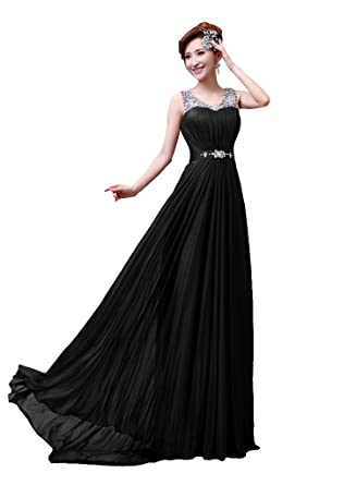 DLFASHION Scoop Neck Sweep Train Beaded Chiffon Prom Dress S-4 Black