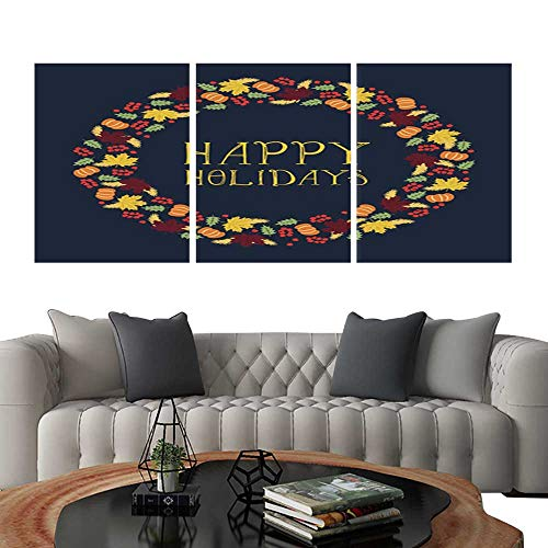 (UHOO Modern Canvas Painting Wall Art Happy Holidays Card with Wreath Triple Art Stickers 20