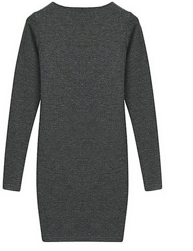 PU&PU Robe Aux femmes Ample Street Chic,Couleur Pleine Col en V Au dessus du genou Polyester , light gray-2xl , light gray-2xl
