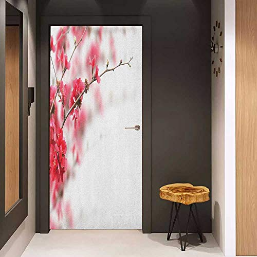 Onefzc Automatic Door Sticker Spring Nature Beauty Cherry Blossom Branches Misty Inspirational Japanese Blooms Image Easy-to-Clean, Durable W23.6 x H78.7 Hot Pink White ()