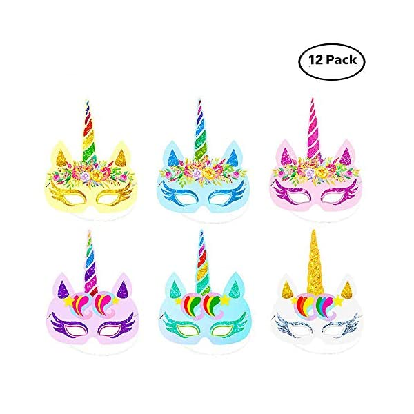 Lemoncy 12 Pack Rainbow Paper Masks Kids Birthday Masks Party Hat Eye Masks for Themed Party Favors 3
