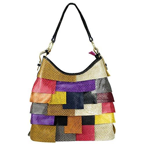 Sibalasi-Trendy Women Colorblock Cow Leather Shoulder bag Multicolor  Patchwork Crossbody Bag Sunflower-seed Print Designer Genuine Leather Purse  Handbag 5152121f6df7f