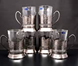 Combination of 6 Russian ''Graneniy'' Square Faceted Drinking Tea Glasses W/metal Glass Holders ''Podstakannik'' for Hot or Cold Liquids