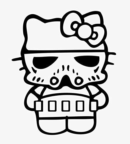 Hello Kitty Star Wars Stormtrooper, White, 8 Inch, Die Cut Vinyl Decal, For Windows, Cars, Trucks, Toolbox, Laptops, Macbook-virtually Any Hard Smooth Surface]()