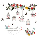 Removable Creative 3D Birdcages Flowers Flying Birds Wall Decals Kids Room Wall Decorations Art Decor Stickers Nursery Decor 3D Art Decal Bedroom Bathroom Sticker