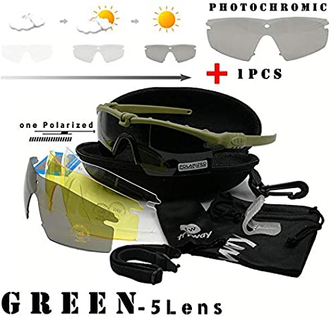 Tryway Gafas de Seguridad tácticas Profesionales balística polarizada M 3.0 photochrom UV400 Gafas Protectoras Montura de Tiro Gafas Deportes al Aire Libre Ciclismo Gafas Paintball