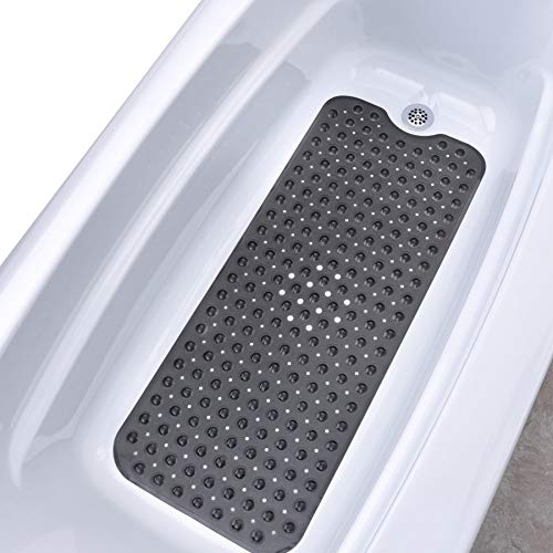 Anti Slip Shower Mat - SlipX Solutions Translucent Black Extra Long Bath Mat Adds Non-Slip Traction to Tubs & Showers - 30% Longer Than Standard Mats! (200 Suction Cups, 39