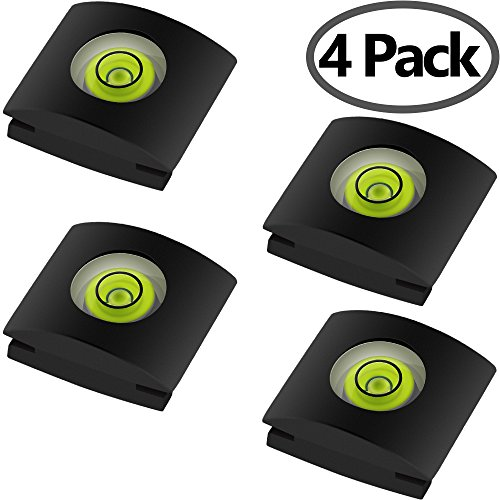 4Pack Camera Hot Shoe Cover with Bubble Spirit Level for Canon Nikon Panasonic Fujifilm Olympus Pentax Sigma DSLR/SLR/Evil Camera