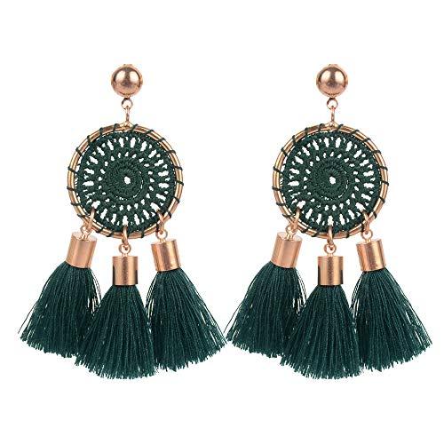 Belmarti Colorful Tassel Dangle Drop Hollowed-out Disc Bohemian Thread Fringe Stud Earrings Multicolored Fashion Jewelry for Women (Net Dark Green)