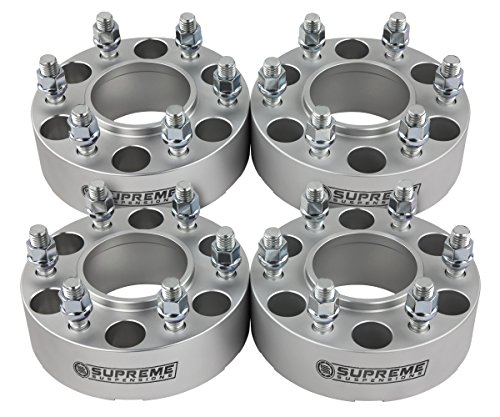 Supreme Suspensions - (4pc) 1995-2015 Toyota Tacoma 2'' Hub Centric Wheel Spacers 6x5.5'' (6x139.7mm) with Lip + M12x1.5 Studs [Silver] by Supreme Suspensions