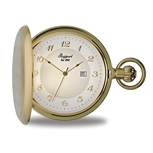 - Vintage Pocket Watch with Chain by Rapport - Classic Oxford Hunter Case Pocket Watch with Date - Gold