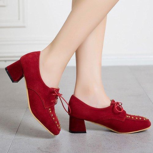 Aisun Da Donna Con Tacco Alto Alla Moda E Punta Squadrata Lace Up Oxford A Tacco Medio Scarpe Con Tacco Rosso