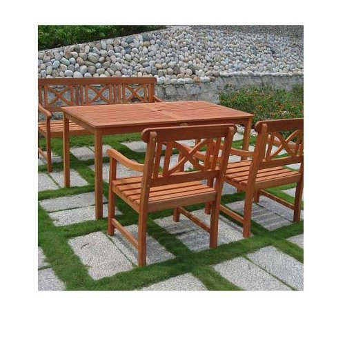 4 Piece Balthazar Wood Rectangular Table With Bench & Armchairs Outdoor Dining Set - Balthazar Dining Set