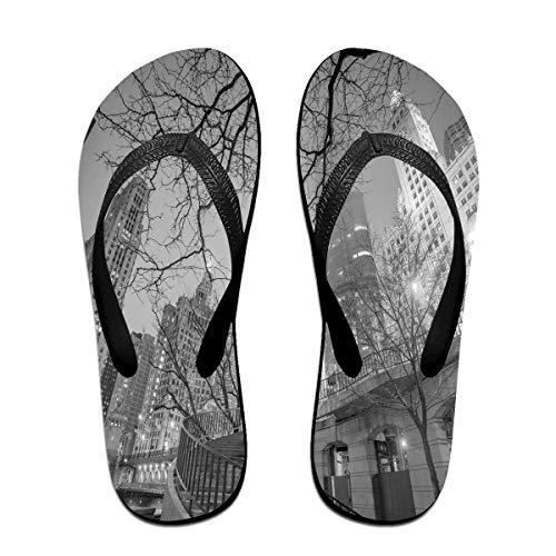 Velorest Funny Summer Flip Flop, Chicago City Downtown Nighttime Highrise Buildings Tree BranchesFor Children Adults Men and Women Beach Sandals Pool Party Slippers -