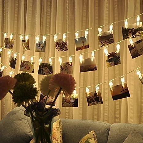 LED Foto Clips Lichterketten Stimmungsbeleuchtung Dekoration 10M 80 LED Clips von Colleer Dauerlicht Weihnachtsbeleuchtung Licht Wanddekoration Licht für hängende Fotos Gemälde Bilder Karte und Memos Fotoclip-DC-10M