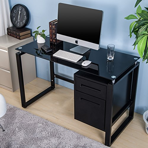 Merax Home Office Computer Desk Table Workstation With Metal Cabinet And Glass Top (black)