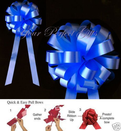 10 ROYAL BLUE WEDDING 8'' PULL PEW BOW BRIDAL DECORATION
