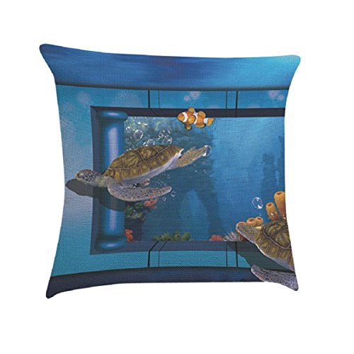 Ikevan Hot Selling Pillowcase 3D Aquatic Creatures Painting Square Pillow Case Sofa Waist Throw Cushion Cover Home Decor (18