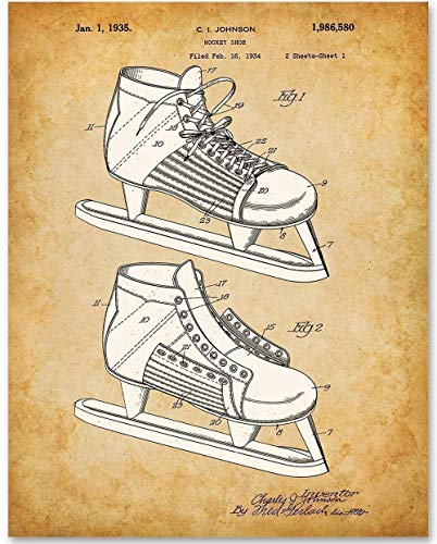Hockey Skate - 11x14 Unframed Patent Print - Makes a Great Gift Under $15 for Hockey Players and Fans ()