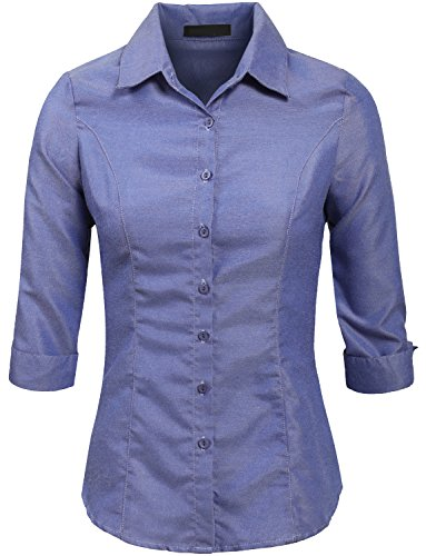 3/4 Sleeve Oxford Shirt (NE PEOPLE Roll Up 3/4 Sleeve Oxford Button Down Shirt with Stretch-BLUE-S)