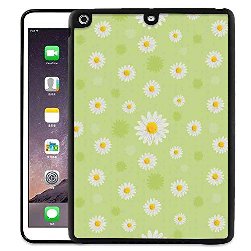 Hard Back Case Fit for iPad Air [2013] iPad 5 [2013] (9.7inch) Yellow and Green Kind and Lovely Springtime Theme with Vivid Daisies Pistachio Green Marigold White