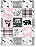 Personalized Baby Name Blanket for Nursery Crib or Toddler Bed | Tribal Baby Woodland Theme Minky Blanket for Girl or Boy