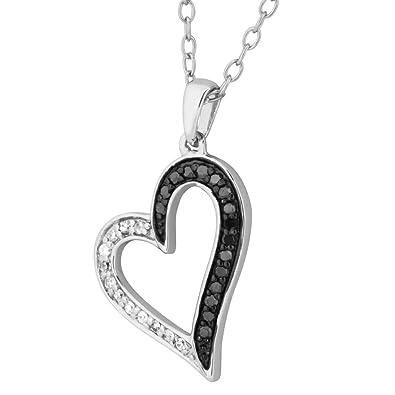 7973dd5ffa454 Amazon.com: Black and White Diamond Heart Pendant Necklace, Rhodium ...