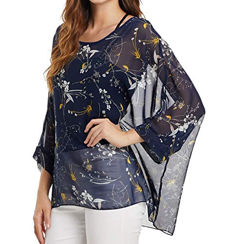 Women's Loose Batwing Sleeve Blouse Chiffon Top Floral Printed Poncho Tunic Caftan Cover up ()