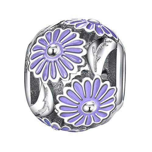 DALARAN 925 Sterling Silver Daisy Flower Charms Love Purple Enamel Charm Beads for Bracelets Necklace ()