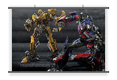 Transformers Bumble Bee Poster - Transformers Bumblebee & Optimus Prime Hanging Wall Scoll Fabric Decorative Horizontal Poster (21.6