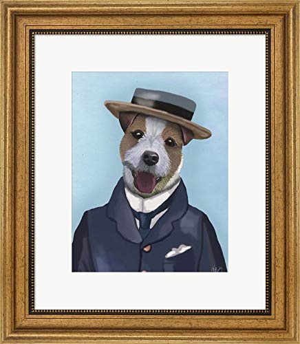 Russell Frame Jack - Jack Russell in Boater by Fab Funky Framed Art Print Wall Picture, Wide Gold Frame, 17 x 20 inches