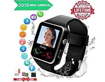 Reloj Inteligente, Android Smartwatch con Bluetooth Fitness Tracker con Ranura para SIM, Reloj Deportivo con Podómetro, Sueño, Calorías Samsung Sony Huawei ...