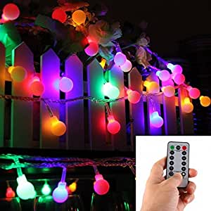 [Remote & Timer] 16 Feet 50 LED Outdoor Globe String Lights 8 Modes Battery Operated Frosted White Ball Fairy Light(dimmable, Ip65 Waterproof, Multicolor)