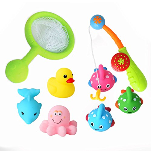 BBLIKE Bath Toy Fishing Game with Cute Spotted Floating Fish and Net with Rod BPA Free for Baby Bathtub Fun Bright Color Toy Cute Animals 8pcs