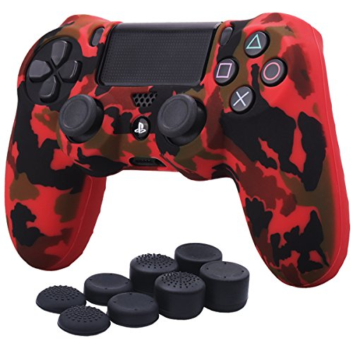 YoRHa Water Transfer Printing Camouflage Silicone Cover Skin Case for Sony PS4/slim/Pro Dualshock 4 controller x 1(red) With Pro thumb grips x 8
